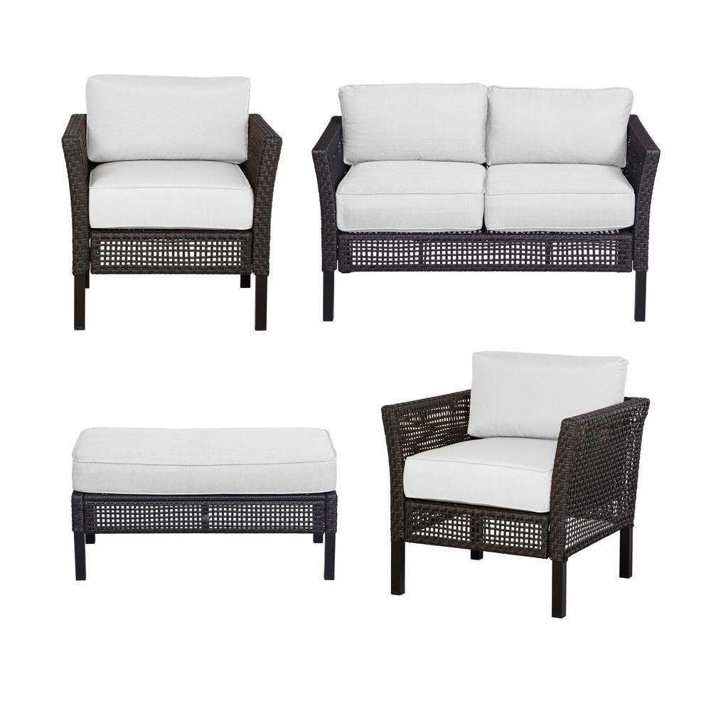 Hampton Bay Fenton 4 Piece Patio Seating Set with Bare Patio Cushion