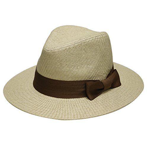 bfc249fcaefd5 City Hunter Pamoa Pms470 Unisex Wide Brim Natural Straw Sun Fedora Hat - 4  Colors