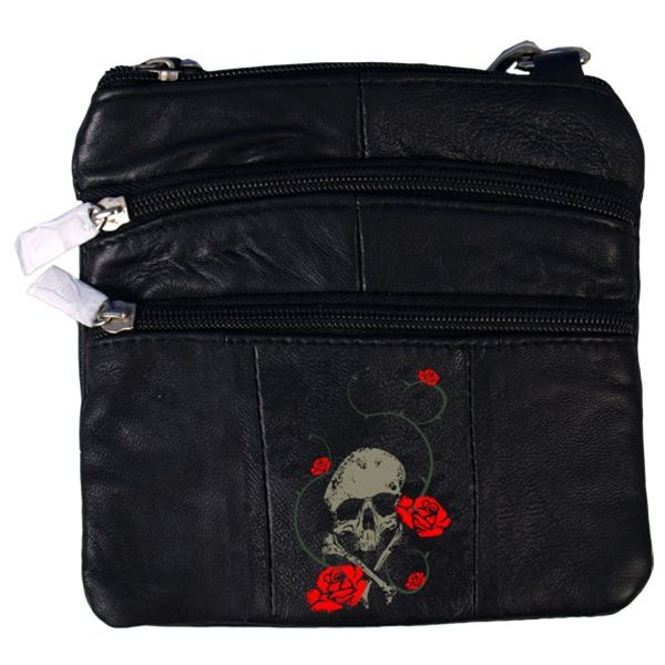 Hot Leathers Skull & Roses Embroidered Leather Purse