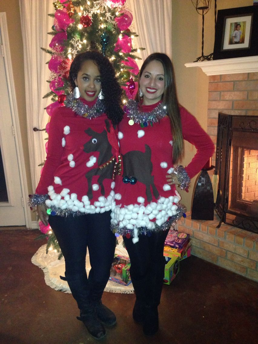 Ugly Christmas sweater for couples or best friends. DIY using felt, tinsel,  cotton