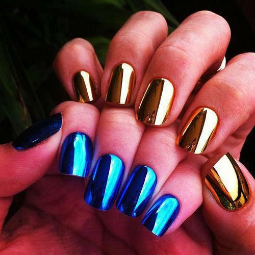 Metallic Nails Nails Pinterest Nagel Stylische Nagel And