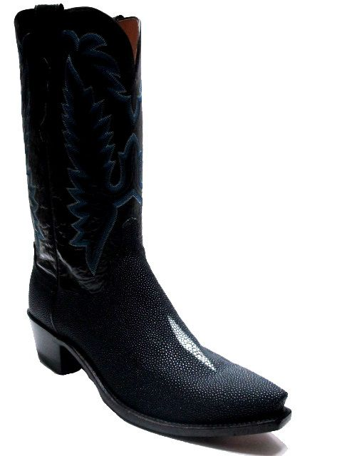 51f6f3c48a4 Lucchese N8625.54 Stingray and Goat skin leather boots in Navy, Best ...