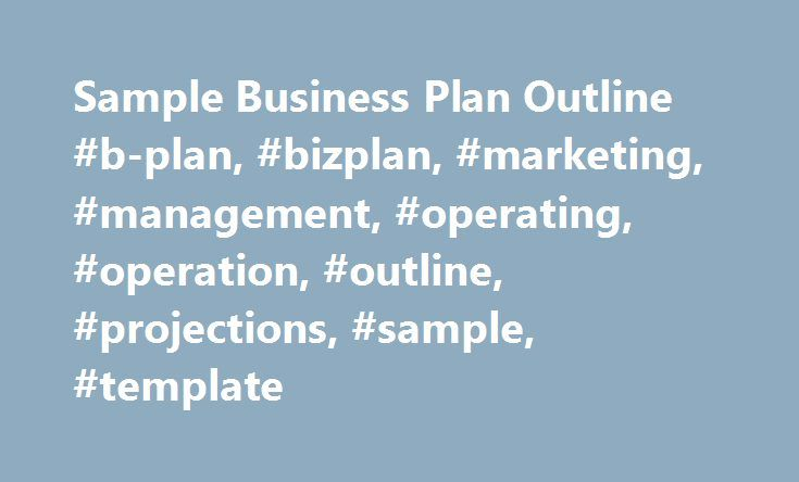 Sample Business Plan Outline BPlan Bizplan Marketing
