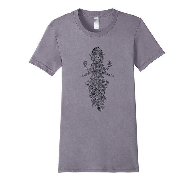 "Amazon.com: Women's ""Divine Goddess"", Lola the Yogini - Yoga T-Shirt (Black): Clothing"
