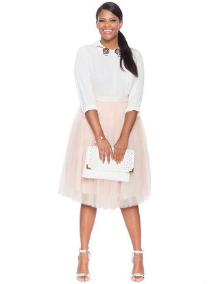 0ab29939809 Plus Size Tulle Midi Skirt in Pale Pink