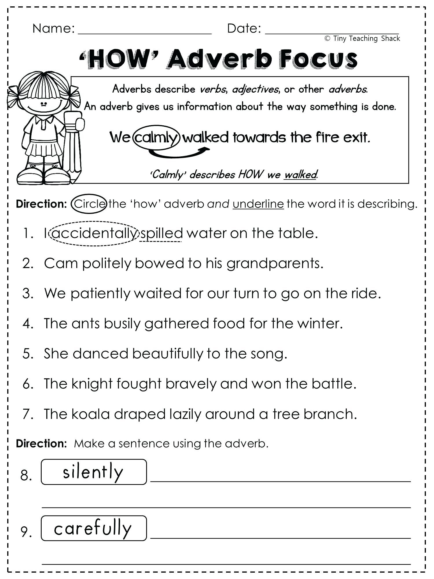 5th Grade Language Arts Printable Worksheets Ndash