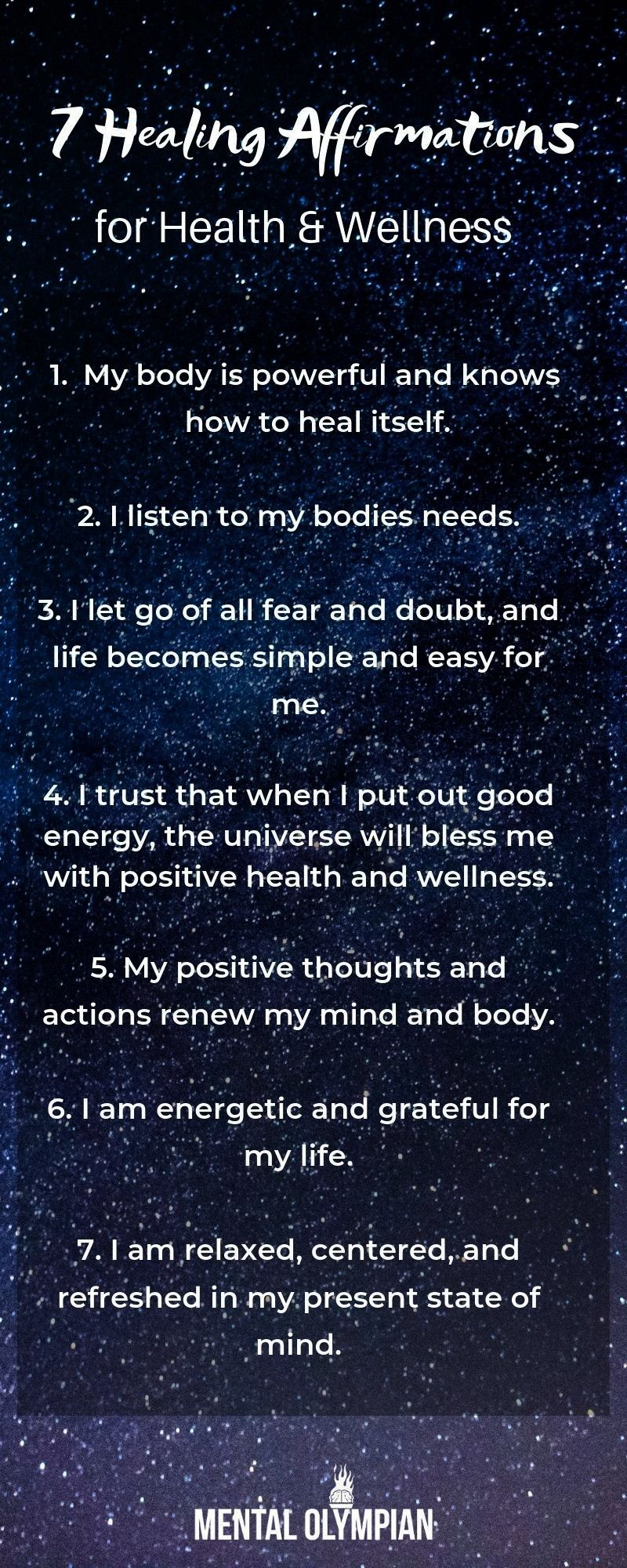 Healing Affirmations for Health and Wellness  Heal yourself with these mindful affirmations Allow the Law of attraction to serve you7 Healing Affirmations for Health and...