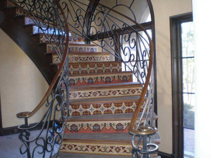 Wood Staircase, Tile Landing | Wood And Tile Work