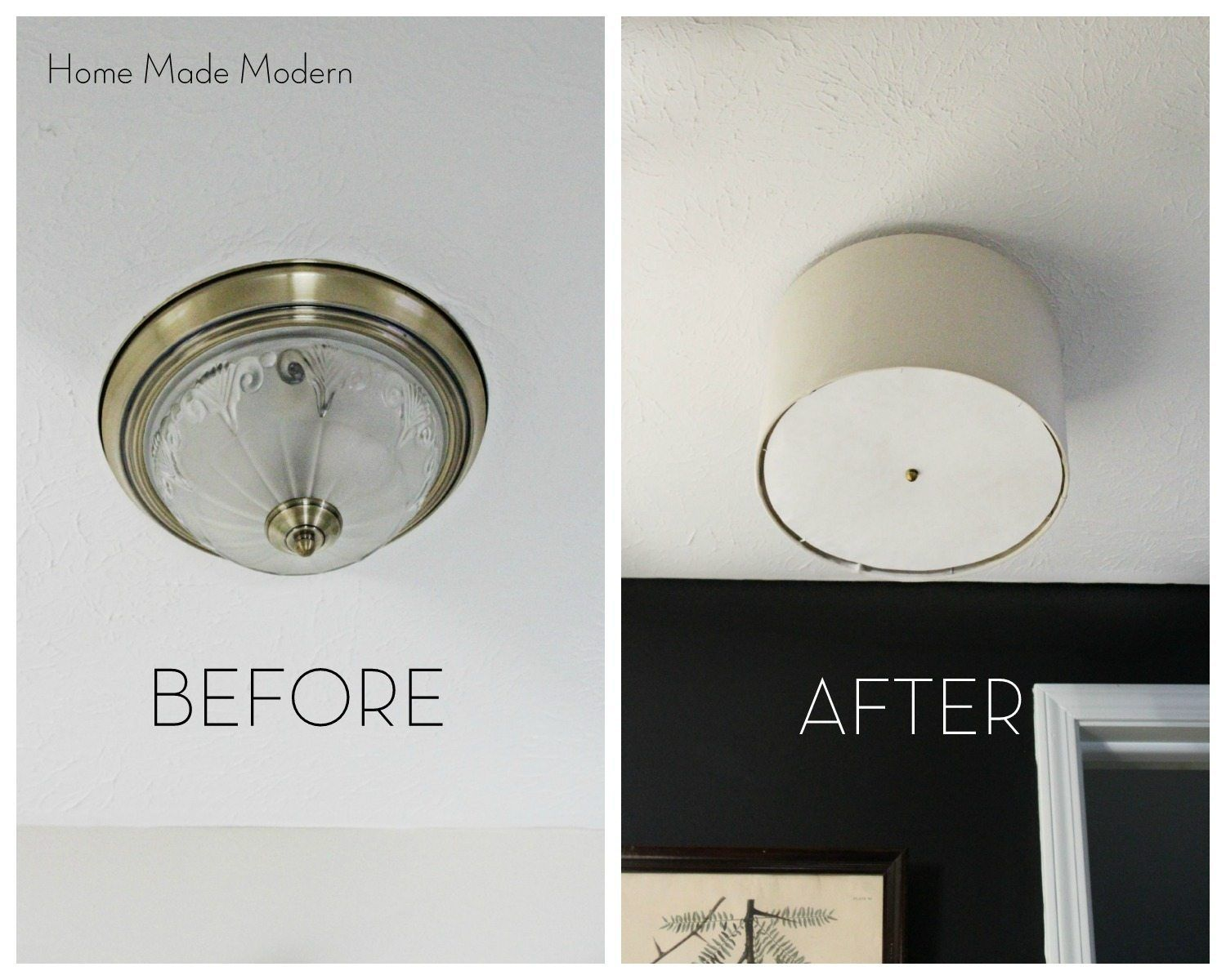 diy flush mount shade with freezer paper diffuser | Chelsea ...