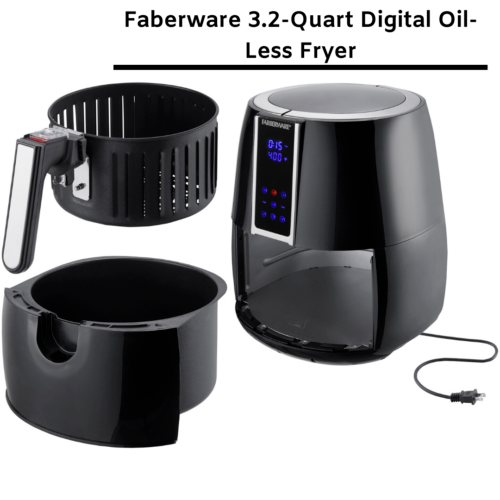 Farberware 3.2 Quart Digital Air Fryer, OilLess, Black