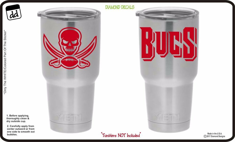Tampa Bay Buccaneers Set Of 2 For Yeti Tumblers Cup Vinyl Decal Nfl Car Stickr Diamonddecals Diamond Decals Vinyl Decals Tumbler Cups