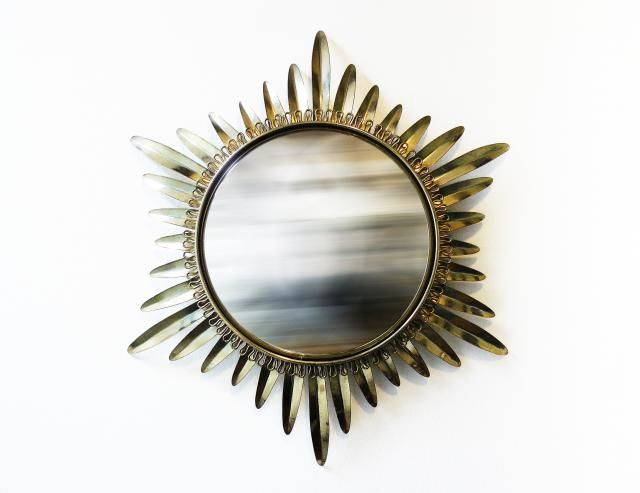 French Sunburst Convex Mirror, 1950s in 2020 Convex