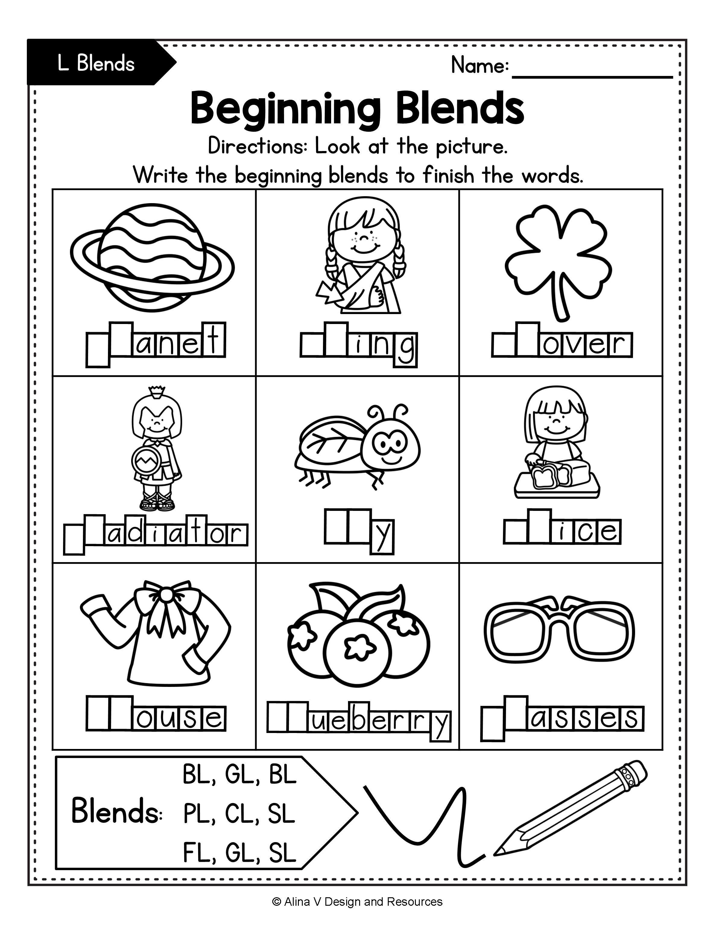 Beginning Blends Worksheets Bundle Consonant Blends Blends Worksheets Kindergarten Worksheets Printable Blend Words [ 3069 x 2371 Pixel ]