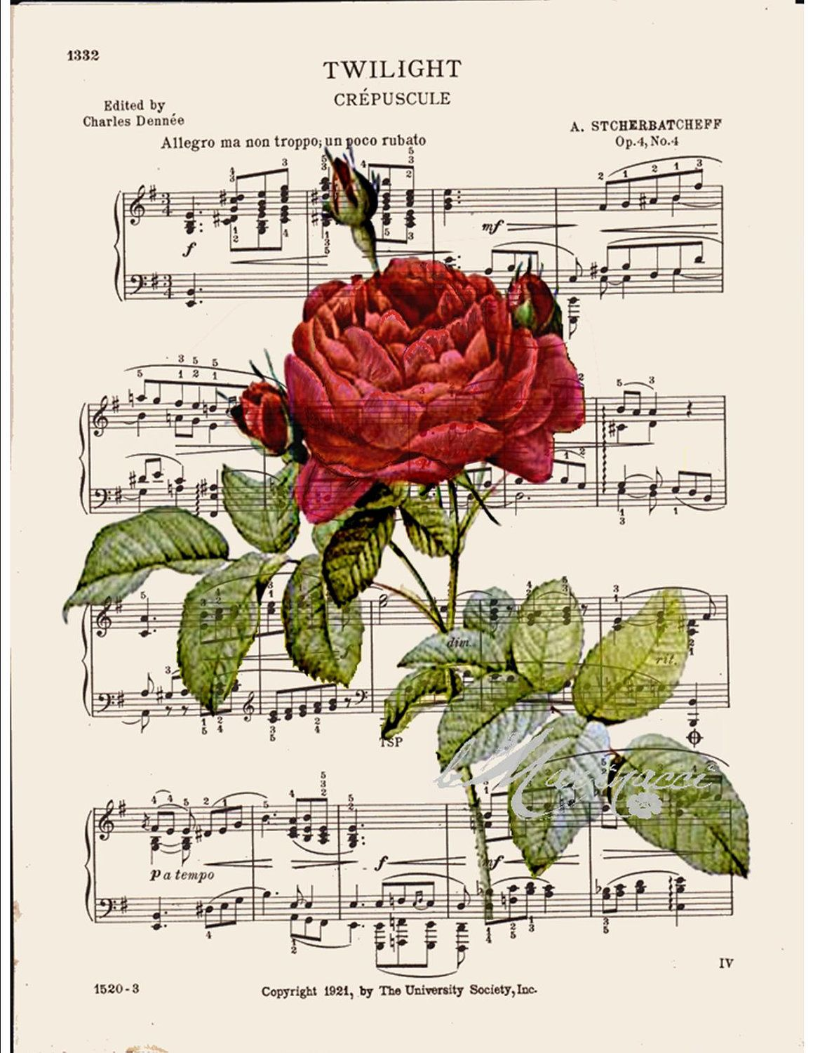 BOGO SALE French Red rose Dictionary art print printed on old ...