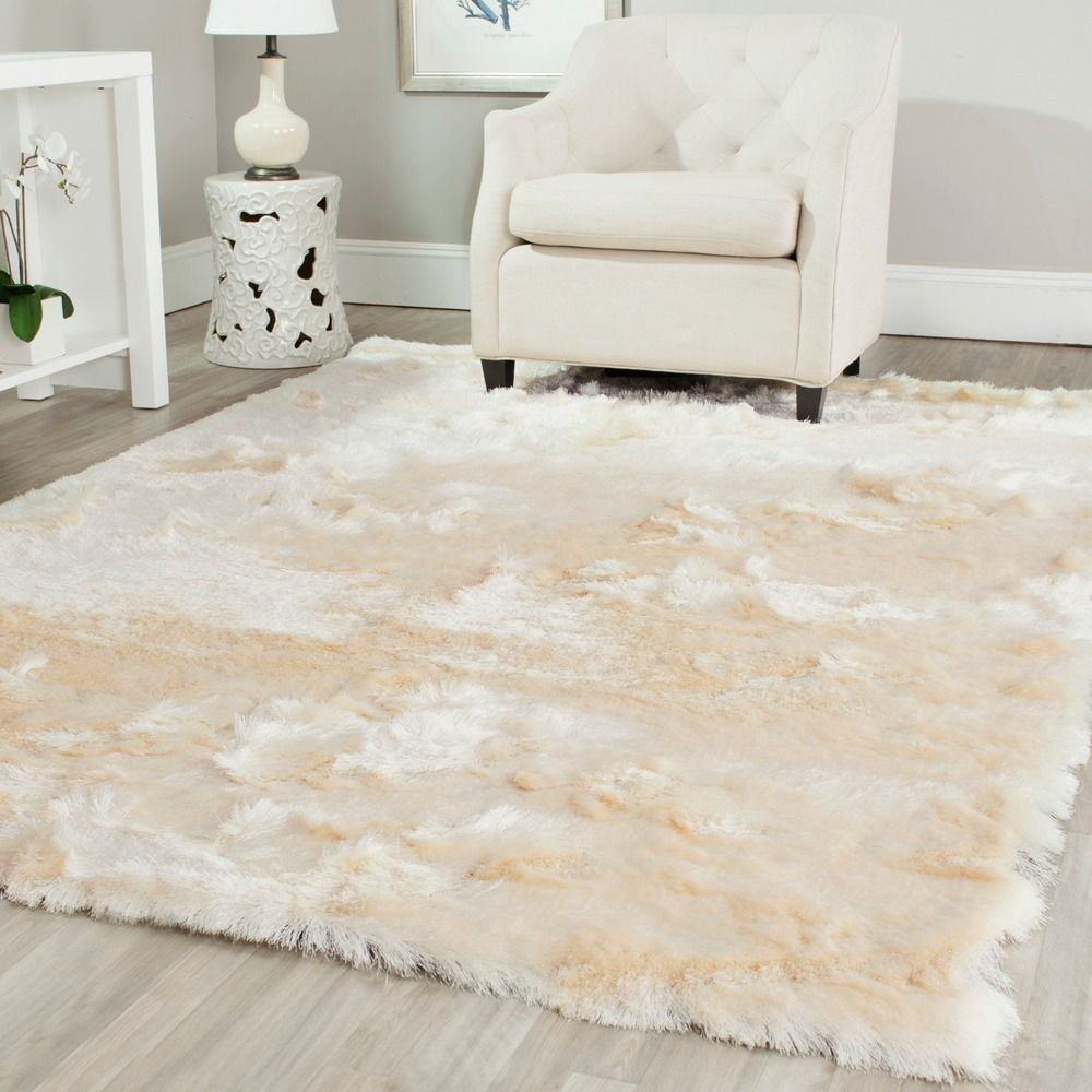 Silken ivory shag rug u x u overstock shopping great deals