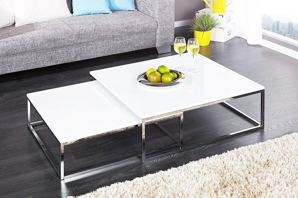 Design Couchtisch 2er Set Weiss Chrom Riess Ambiente De In 2020 Koffietafel Salontafel Moderne Salontafels
