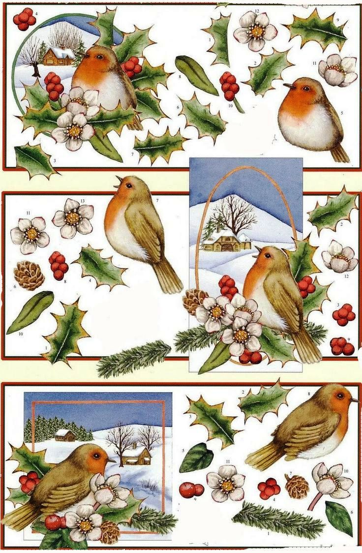 A4 3D Paper Tole Christmas Bird Candle Baubles 2 Pictures NEW