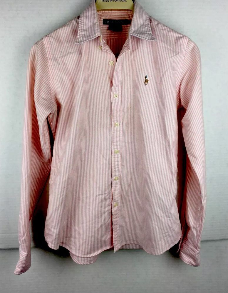 dc73a79527 Women's Sz 4 Ralph Lauren Striped Long Sleeve Button Down Shirt Pink/White  #fashion #clothing #shoes #accessories #womensclothing #tops (ebay link)