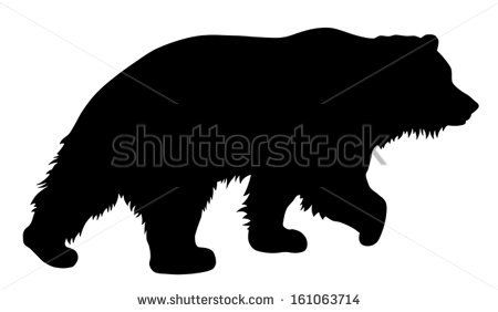 Vector Illustration Of Brown Bear Silhouette Stock Vector Bear Silhouette Bear Art Bear Drawing