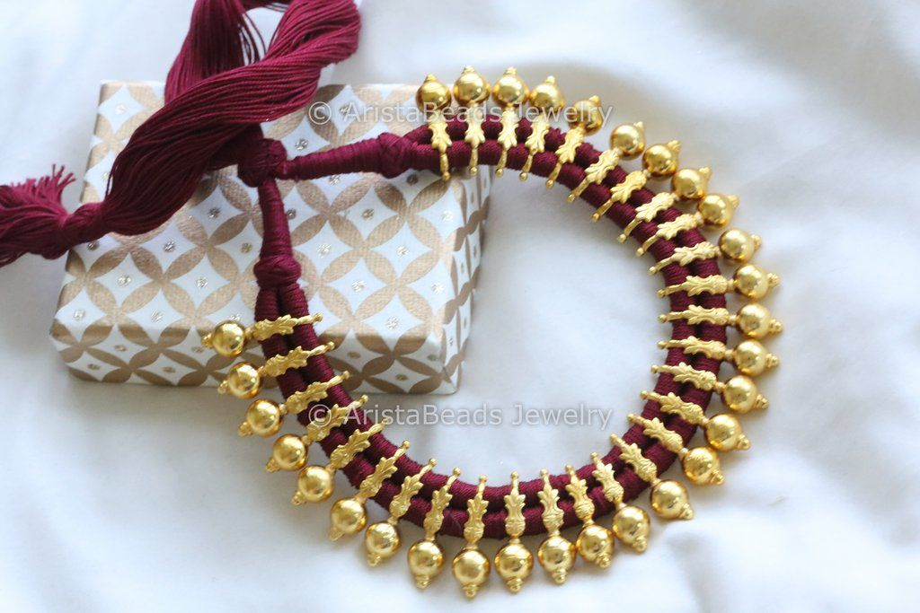 38a9e3239267d Gold Beaded Red Thread Choker   Bollywood Collection   Gold beads ...