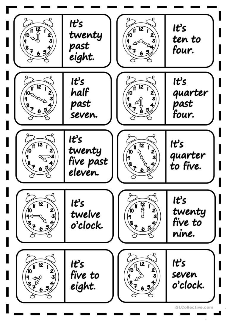 What´s the time   dominoes   English teaching materials, Time ...