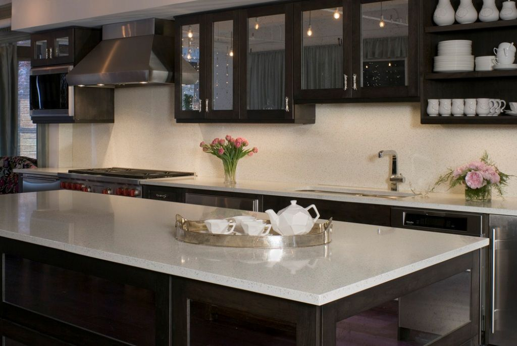Kitchen White Onyx Countertop And Dark Brown Cabinet For Elegant