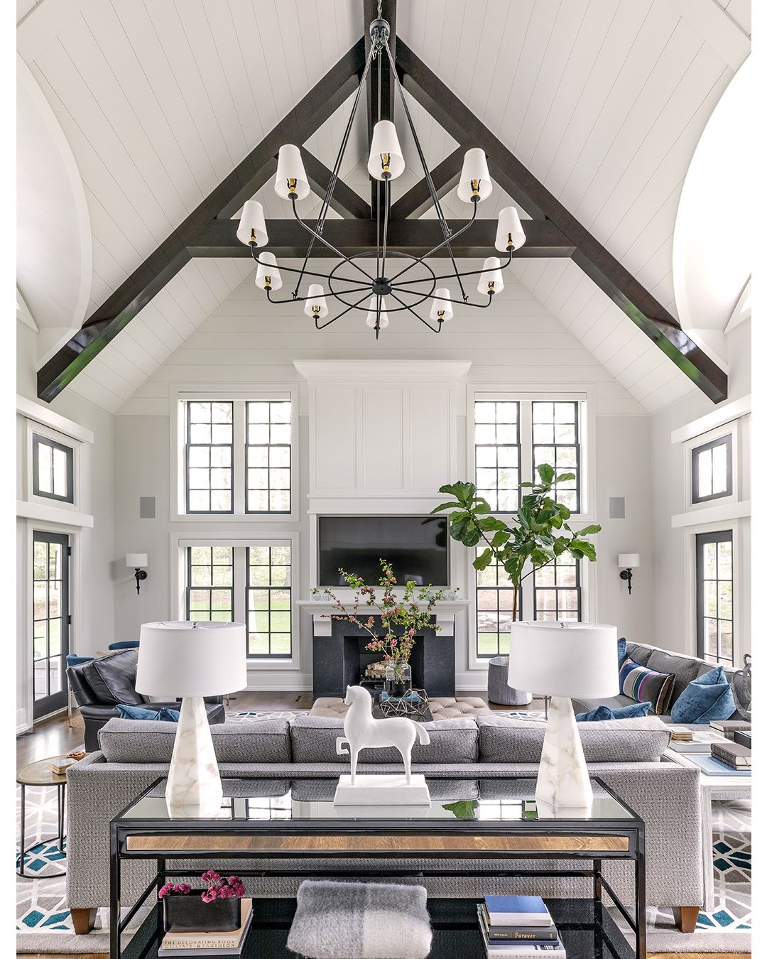 Living Room Lake Ellyn View Is Sweet Farm House Living Room Modern Farmhouse Living Room High Ceiling Living Room