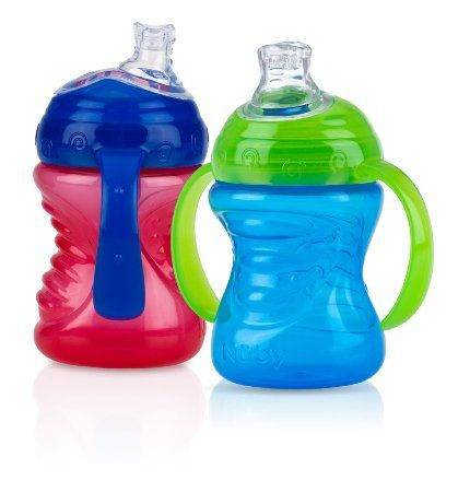 Amazon Com Nuby 2 Count 2 Handle Cup With No Spill Super Spout Colors May Vary Baby Baby Sippy Cup Nuby Sippy Cup Nuby
