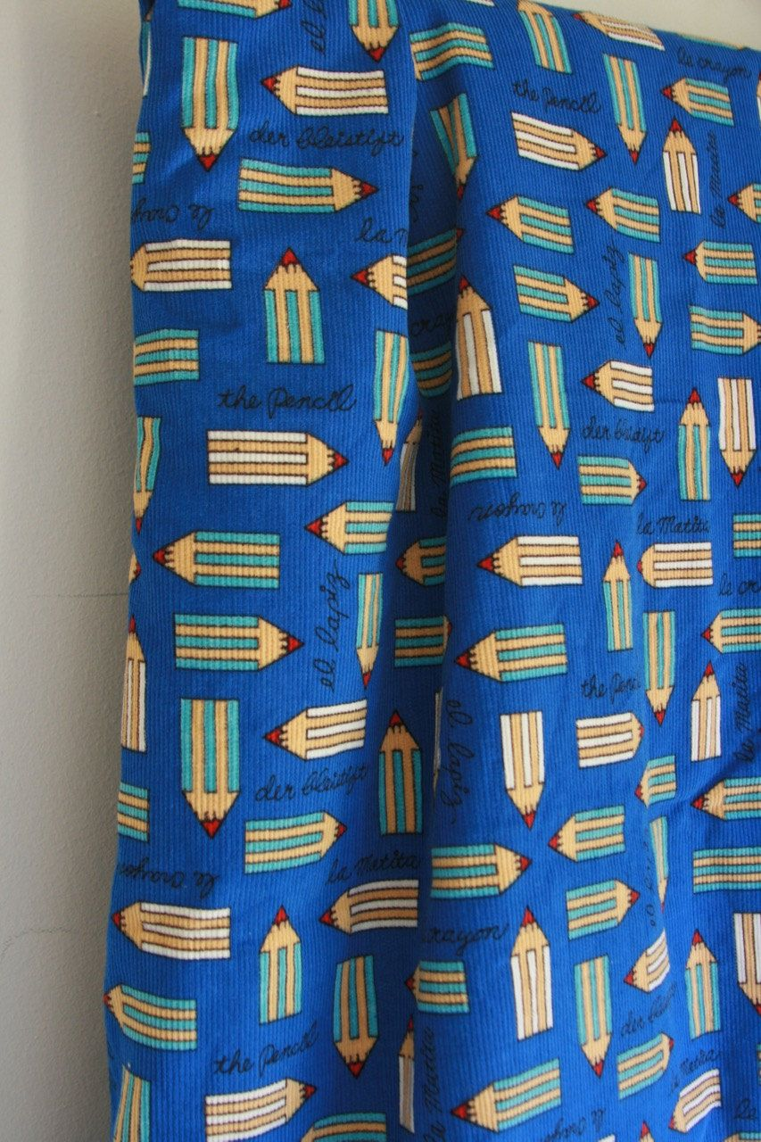 Vintage corduroy fabric with graphic pencils and script 3 plus yards by fuzzymama on Etsy