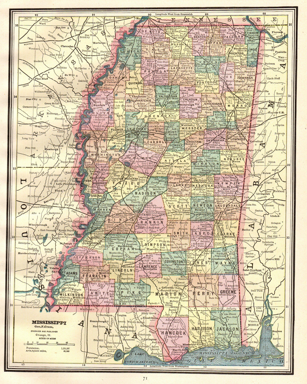 s in mississippi map 1889 Antique Mississippi Map Vintage State Map Of Mississippi s in mississippi map