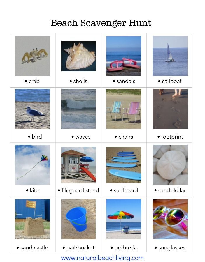 Perfect Beach Scavenger Hunt for Kids Free Printable | Natural Beach ...