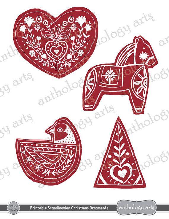 Delightful Scandinavian Christmas Ornaments Part - 4: Printable Christmas Ornaments Scandinavian Style By Anthologyarts, $5.95