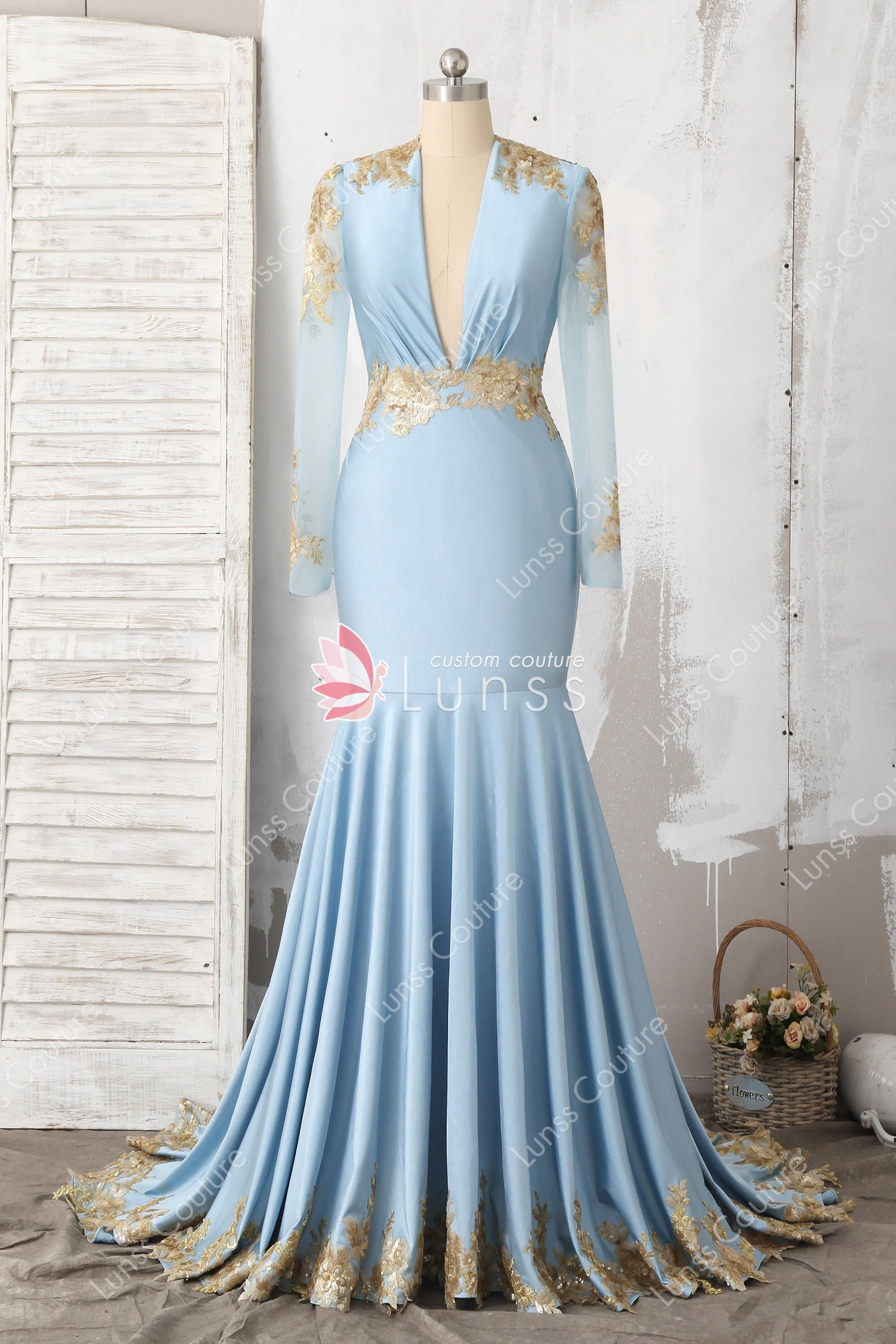 Exquisite baby blue sheer long sleeve plunging jersey mermaid long