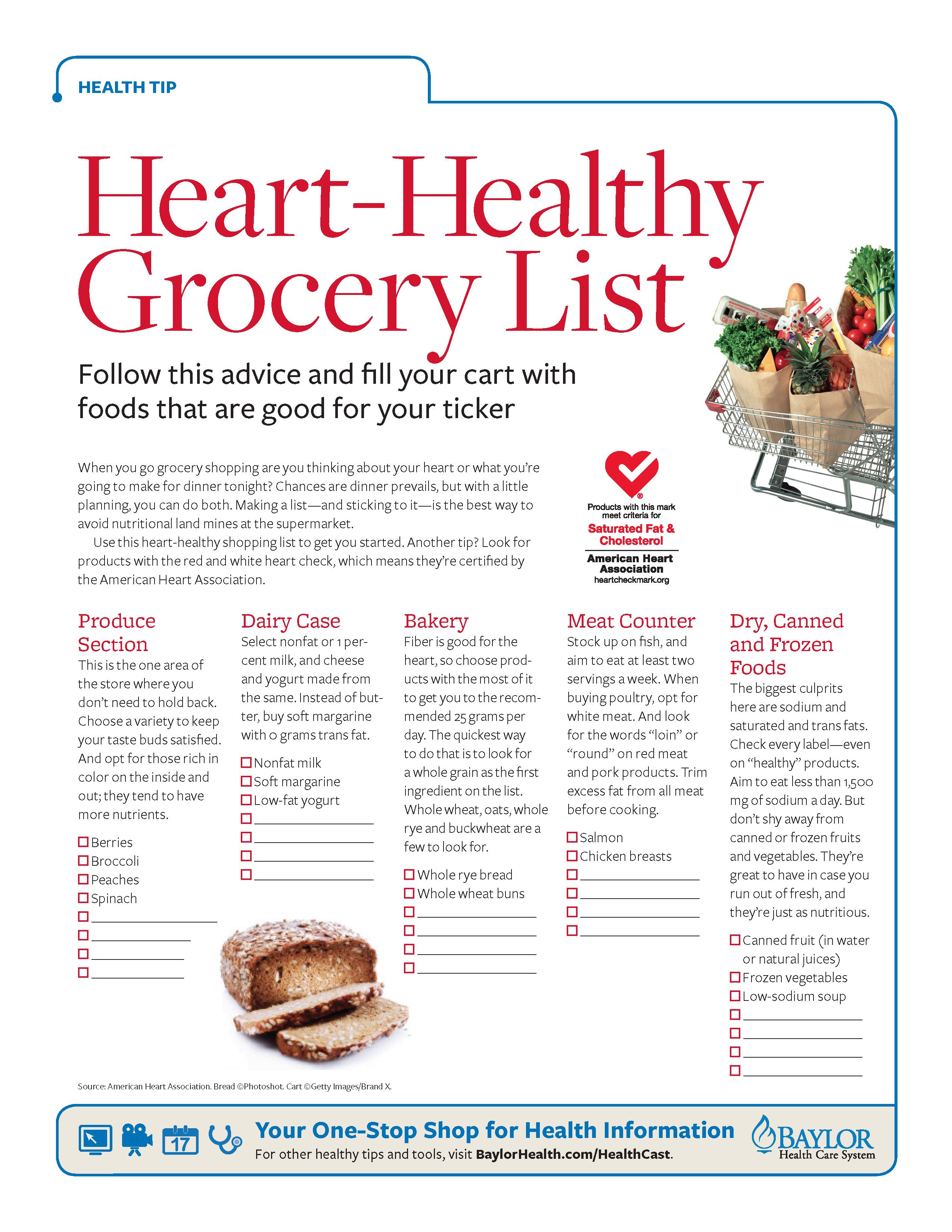 shopping list for heart failure diet