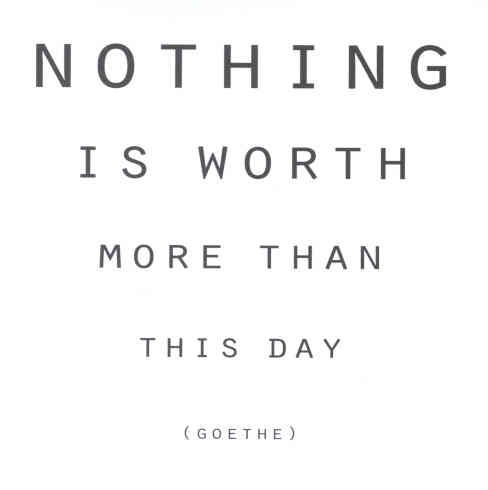 nothing is worth more than this day // goethe