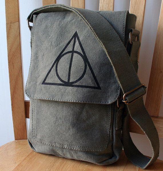 Olive Drab Deathly Hallows Canvas Tech Bag. NEEEEEEEED