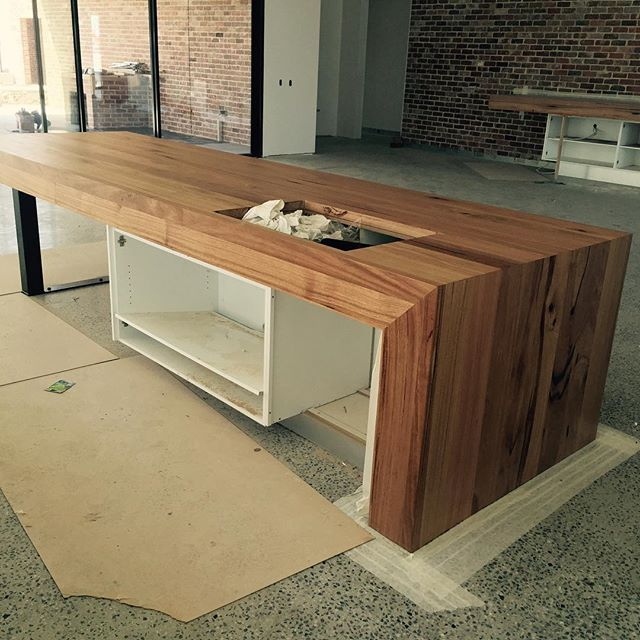 Waterfall Ends Kitchen Bench: Custom Made Timber Benchtops