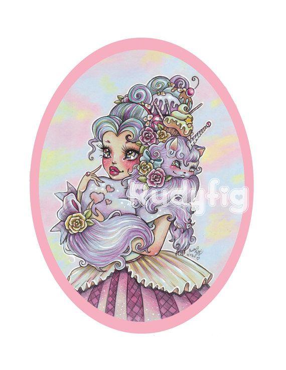 Magical Friends art print by Rudy Fig, unicorn cat, antoinette, cupcake, kawaii, cute print, caticorn