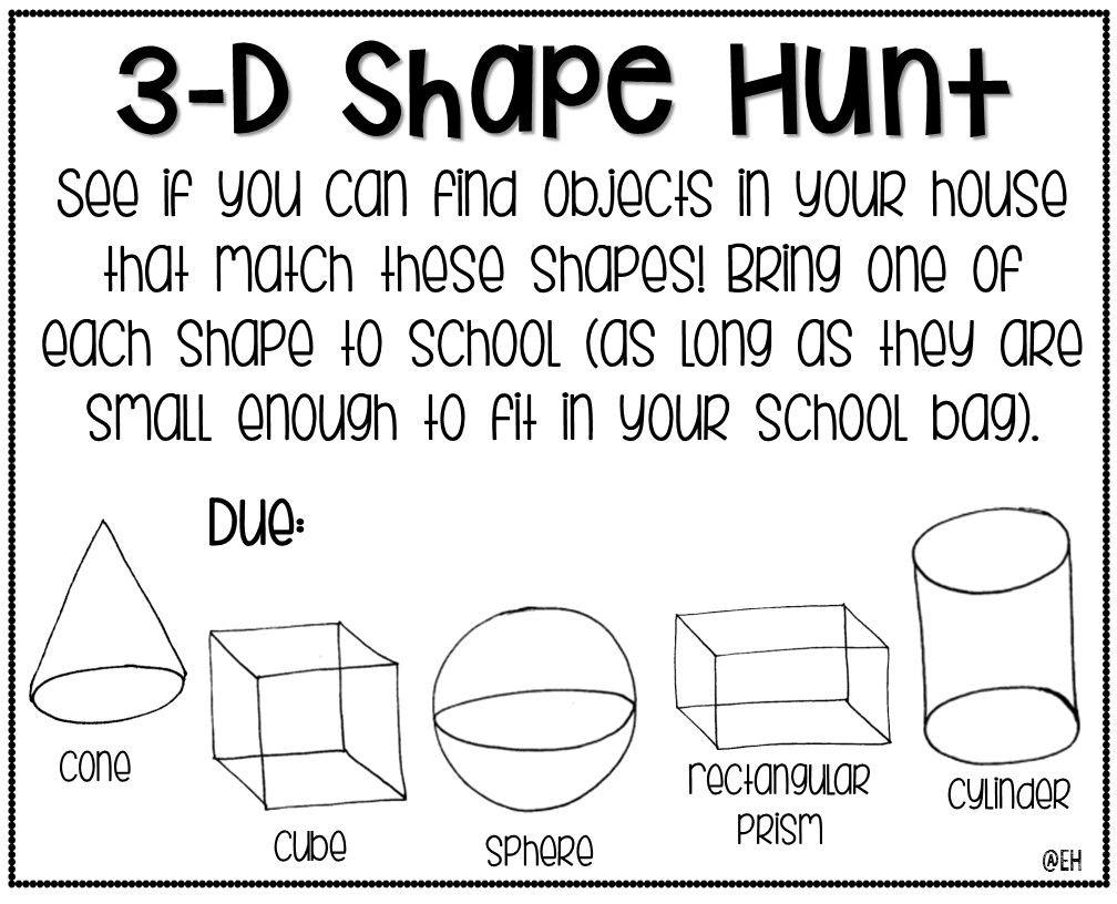 3-D Shape Hunt {Freebie}   Shapes kindergarten [ 816 x 1008 Pixel ]