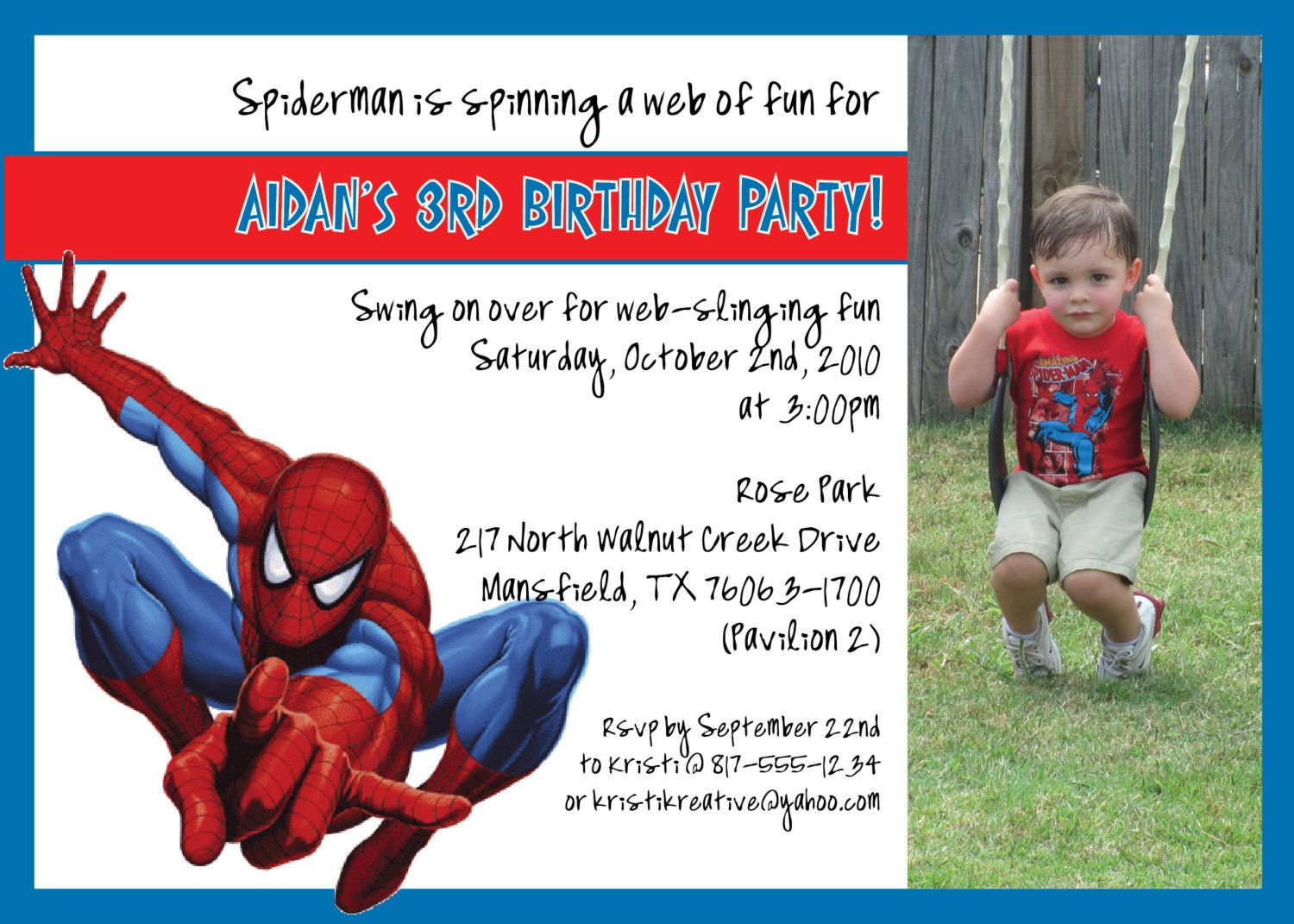 Spiderman Birthday Invitation | Kid Birthday Parties | Pinterest ...
