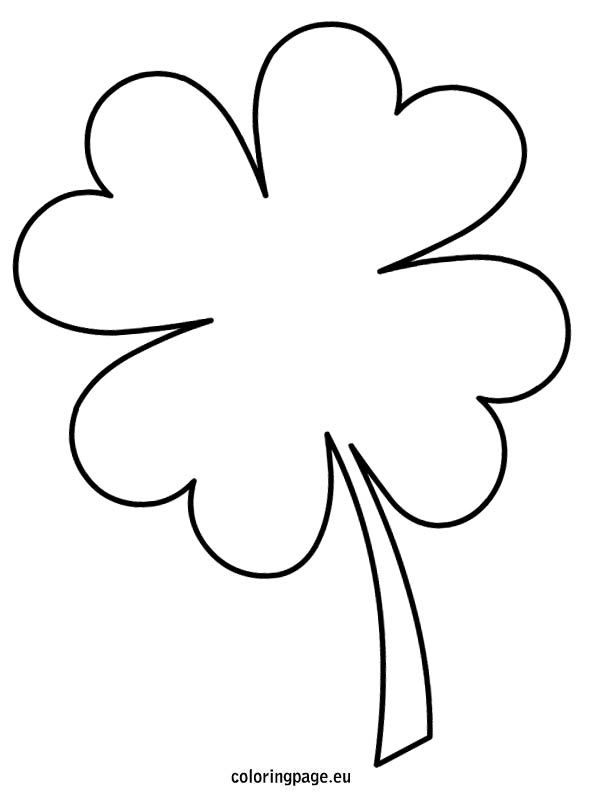 Four Leaf Clover Template Coloring Pages Clover Leaf Shamrock