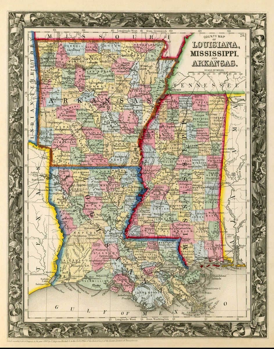 arkansas map louisiana map mississippi map fine print