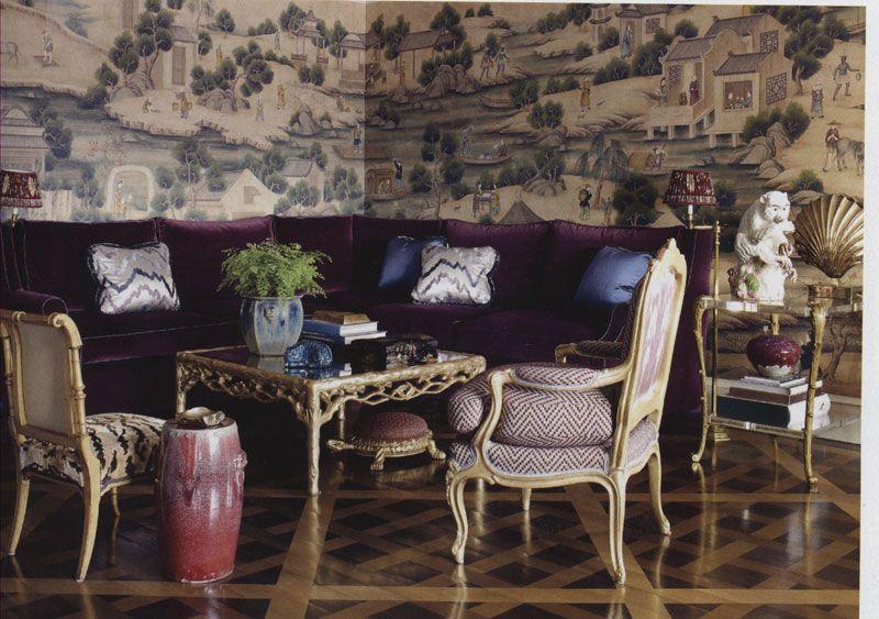 Elle Decor   Page 195, Brunschwig & Fils   Left chair fabric: Tiger Velvet in Natural - BR-81111-0