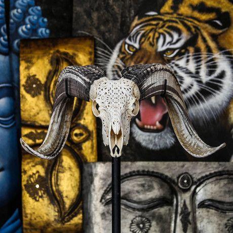 Hand Carved Ram Skull // Celtic