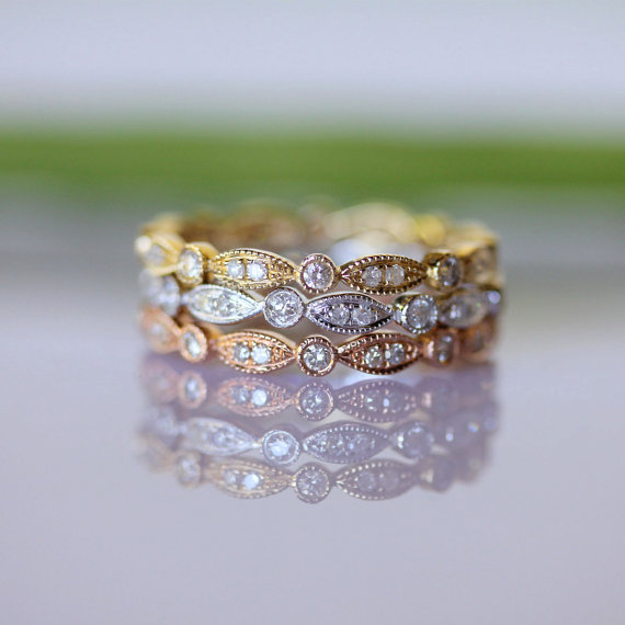 Gold Leaves Pavé Diamond Eternity Ring (size 3.5-7) - Made To Order (One Piece)