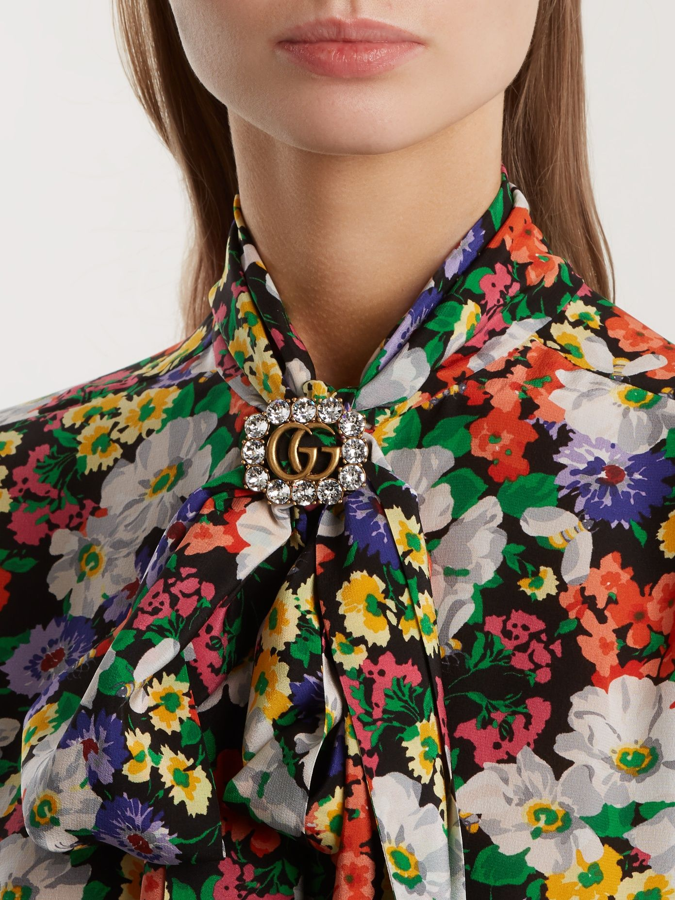 dfc4c93e100 Click here to buy Gucci Crystal-embellished GG brooch at MATCHESFASHION.COM