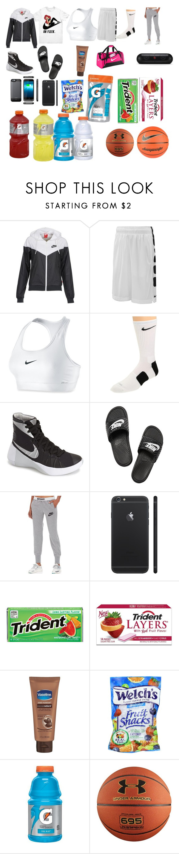 """on my way to the gym"" by londonwashere ❤ liked on Polyvore featuring NIKE, Under Armour, women's clothing, women's fashion, women, female, woman, misses and juniors"