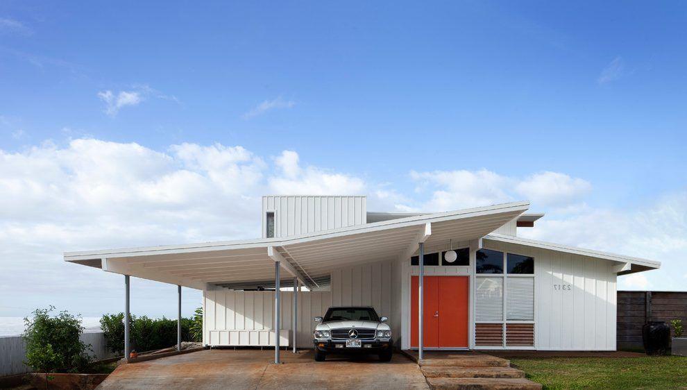 hawaii carport deck exterior midcentury with modern garage