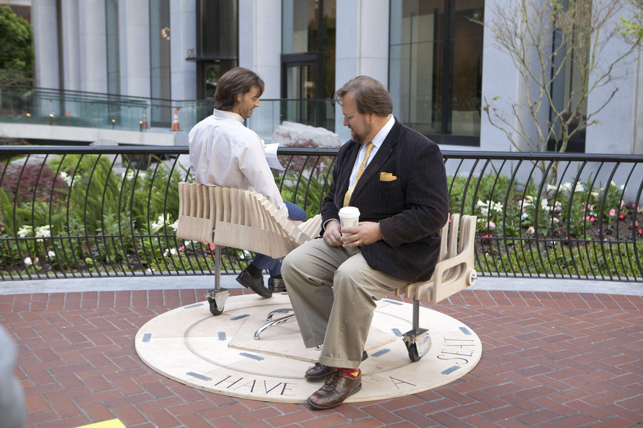 Brilliant Bench Go Round A Playful Spinning Public Seat That Machost Co Dining Chair Design Ideas Machostcouk