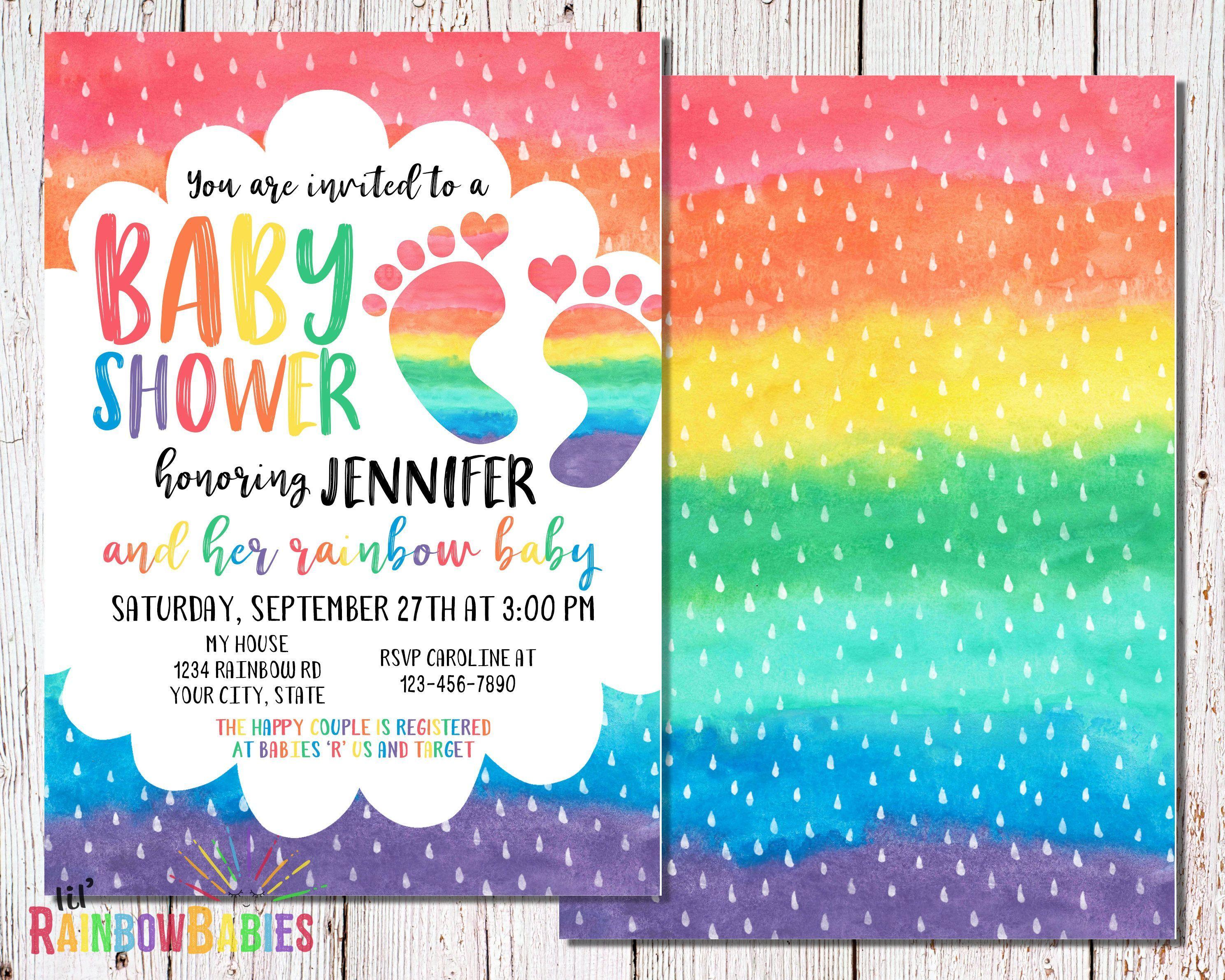 Fiesta Ideas Invitaciones Baby Shower.Rainbow Baby Announcement Ideas Baby Shower Invitaciones